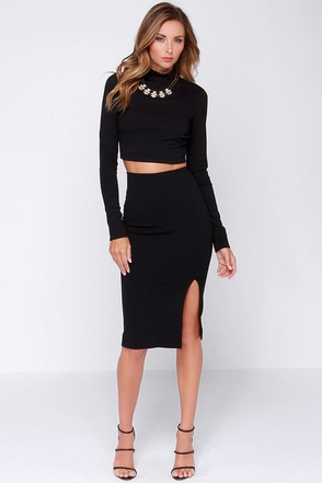Keynote Speaker Navy Blue Bodycon Midi Skirt at Lulus.com!