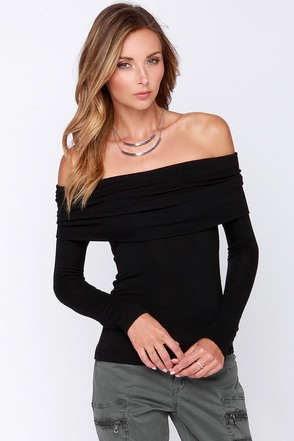 Rock and Roll Queen Off-the-Shoulder Black Top at Lulus.com!