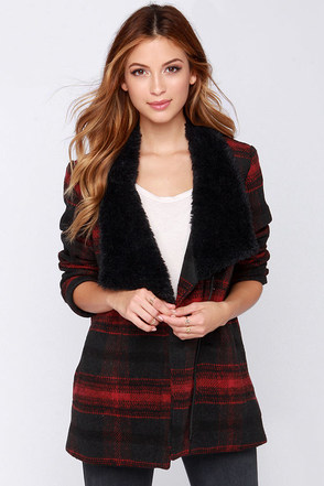 Jack by BB Dakota Rydell Red Plaid Coat at Lulus.com!