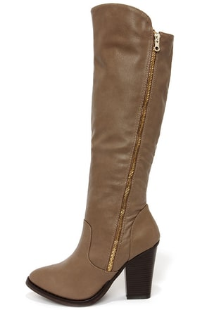 Hot and Edgy Taupe Knee High Heel Boots at Lulus.com!