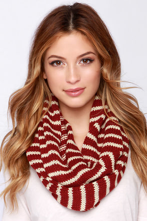 Above the Skyline Wine Red and Tan Striped Infinity Scarf at Lulus.com!