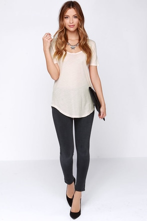 Obey Patti Beige Scoop Neck Tee at Lulus.com!