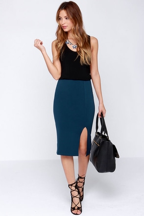 Keynote Speaker Beige Bodycon Midi Skirt at Lulus.com!