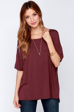 Make It Count Oversized Burgundy Tee at Lulus.com!