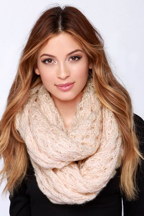 Be a Doll Peach Knit Infinity Scarf at Lulus.com!