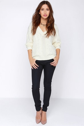 Flying Monkey Expert Advice Dark Wash Skinny Jeans at Lulus.com!
