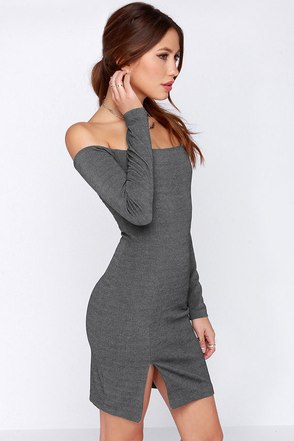 Shoulder and Scully Grey Off-the-Shoulder Dress at Lulus.com!