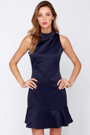 Aryn K Now or Never Navy Blue Dress at Lulus.com!