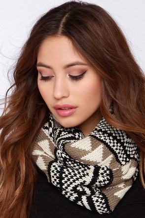 Mountain Lodge Beige and Black Print Infinity Scarf at Lulus.com!