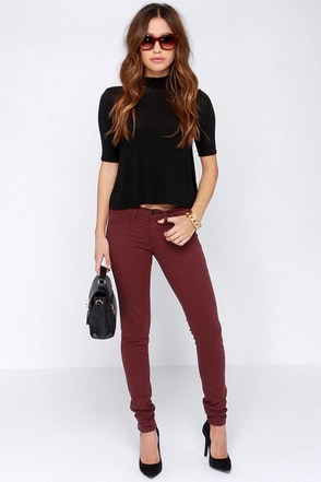 Flying Monkey Hay Ride Burgundy Skinny Jeans at Lulus.com!
