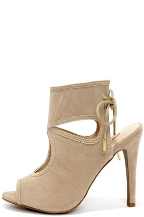 Came and Vent Natural Suede Lace-Back Shootie Heels at Lulus.com!