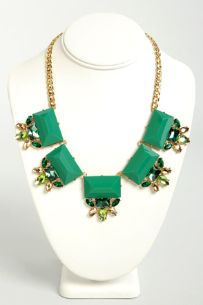 Glitz and Glamor Green Statement Necklace