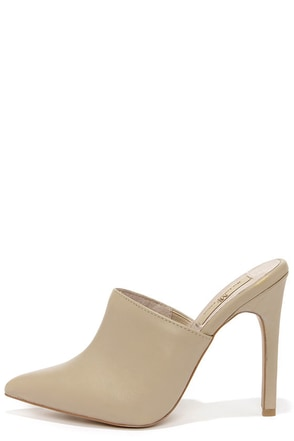 Mia Limited Jethro Taupe Leather Pointed Toe Mules at Lulus.com!