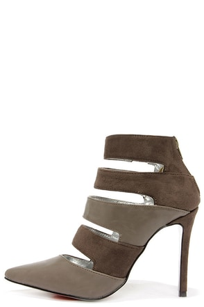 Luichiny Deal Up Light Grey Pointed Toe Booties at Lulus.com!