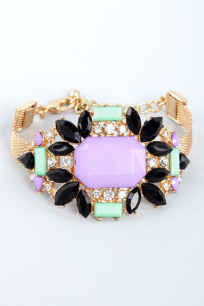 Hold the Stone Lavender Rhinestone Bracelet