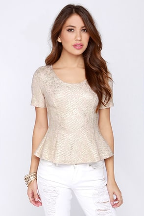 Shining Example Beige and Gold Peplum Top at Lulus.com!