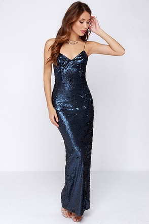 Line and Dot Seymour Navy Blue Sequin Maxi Dress at Lulus.com!