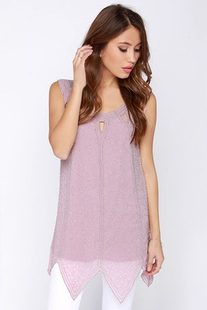 Sky Full of Stars Mauve Beaded Tunic Top at Lulus.com!