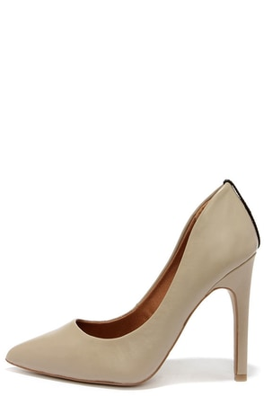 Mia Limited Jolie Taupe Leather Pointed Pumps at Lulus.com!