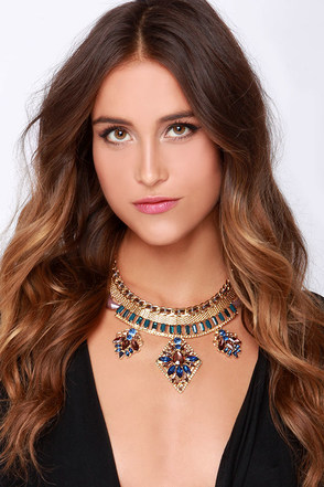 Gem-eration Glam Blue Rhinestone Statement Necklace at Lulus.com!