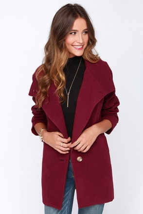 Upper East Side Burgundy Coat at Lulus.com!