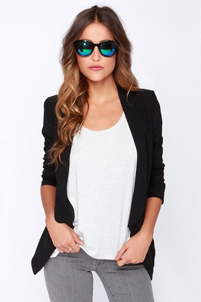Miss Punctuality Black Blazer at Lulus.com!
