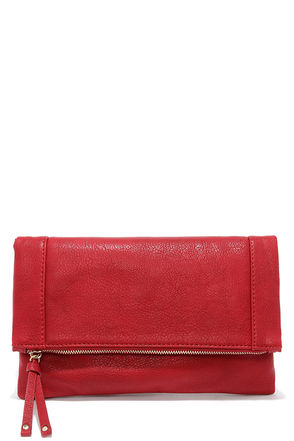 Claire Folding Red Clutch at Lulus.com!