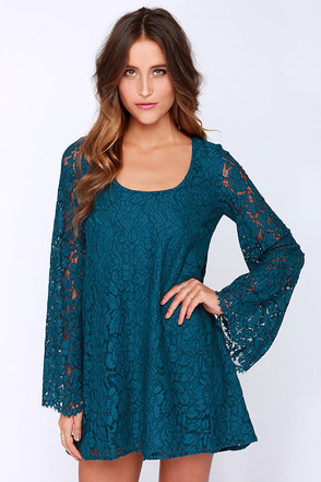 Chaser Rain or Shine Teal Blue Lace Shift Dress at Lulus.com!