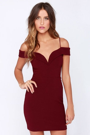 LULUS Exclusive Double Dip Burgundy Dress at Lulus.com!