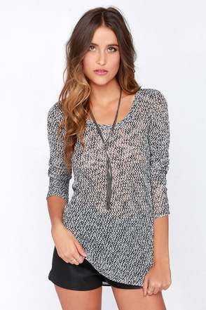 Back At Ya Black and Ivory Sweater Top at Lulus.com!