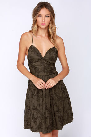 Empire State Embroidered Brown Dress at Lulus.com!