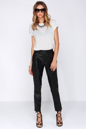 Pleather Permitting Black Vegan Leather Pants at Lulus.com!