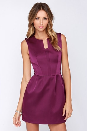 Cameo Plexus Purple Satin Dress at Lulus.com!