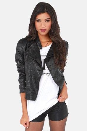 Cool Black Jacket - Vegan Leather Jacket - Moto Jacket - $117.00