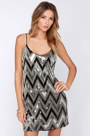 Point Glass Black and Silver Sequin Dress at Lulus.com!