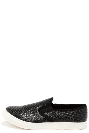 Mia Corklynn Black Basket Weave Slip-On Sneakers at Lulus.com!