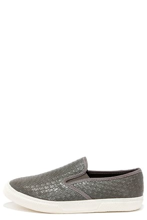 Mia Corklynn Gray Basket Weave Slip-On Sneakers at Lulus.com!