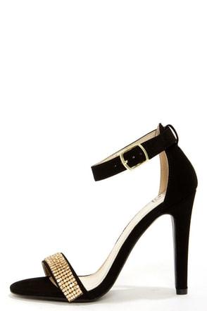 Black And Gold Ankle Strap Heels | Tsaa Heel