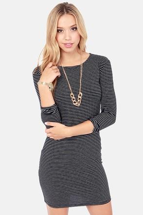 Comeback Baby Black Striped Dress at Lulus.com!
