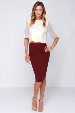 Glamorous Love Language Burgundy Bodycon Midi Skirt at Lulus.com!