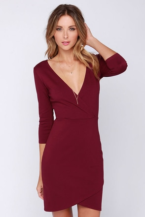 LULUS Exclusive Lean Into It Burgundy Dress at Lulus.com!