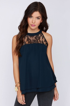 Sugar and Allspice Navy Blue Lace Top at Lulus.com!