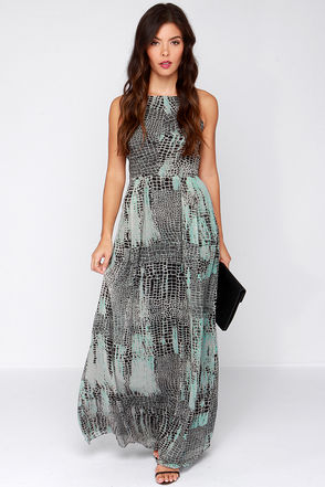 Going Off the Grid Grey and Black Print Maxi Dress at Lulus.com!