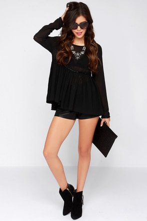 Adorn-able Beaded Black Babydoll Top at Lulus.com!