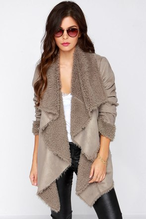 Wandering Wildling Taupe Sherpa Coat at Lulus.com!