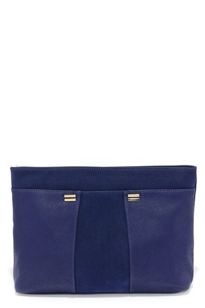 Adalie Blue Vegan Suede Clutch at Lulus.com!