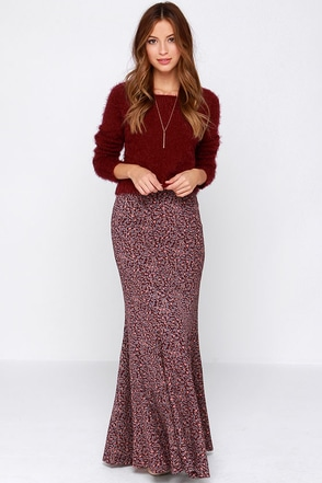 Lucy Love Sweet Jane Burgundy Floral Print Maxi Skirt at Lulus.com!