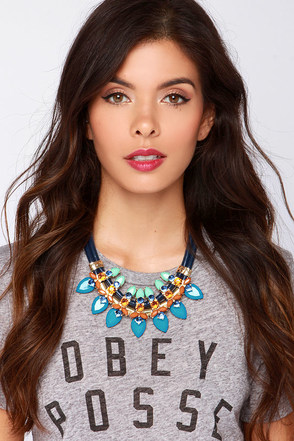 Princess and the Peacock Blue Rhinestone Statement Necklace at Lulus.com!