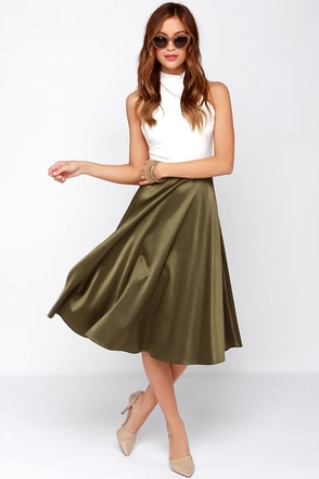 Glamorous Dirty Martini Olive Green Midi Skirt at Lulus.com!