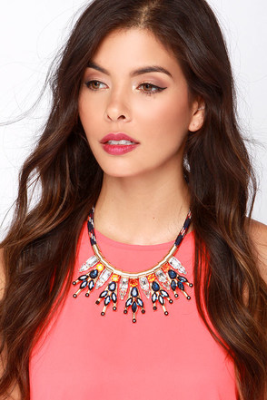 Dream of Gleaming Blue Rhinestone Statement Necklace at Lulus.com!